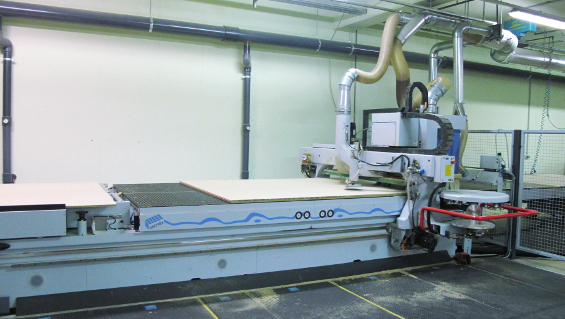 One of the two CNC processing centres with NBM clamping tables