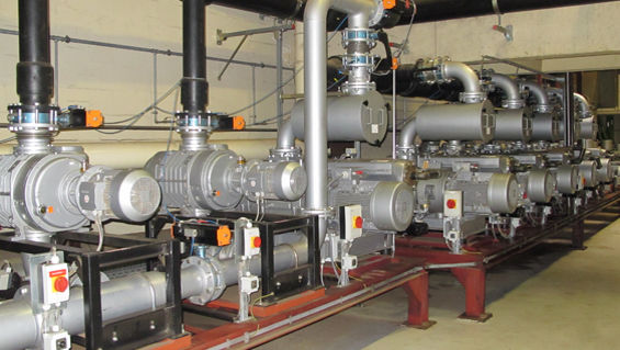 The Busch central vacuum system that permanently maintains the vacuum supply for the purpose of packaging the coffee