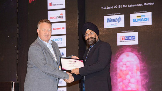 Ajit Singh, Busch India, receives a Certificate of Appreciation for his presentation at the seminar from Mark Lawler, Vice President Sales & Marketing (Asia Pacific) of West Pharmaceutical Services in recognition of Busch India's contribution to solutions in pharmaceutical packaging.