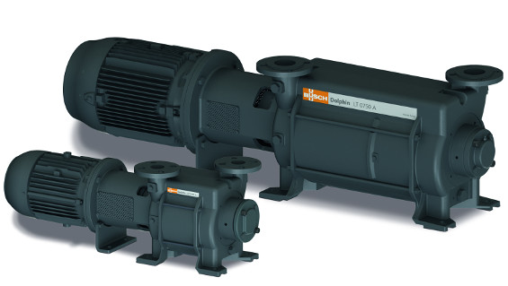 Fig. 1: Two versions of Dolphin liquid ring vacuum pumps that are available with pumping speeds from 25 to 26,800 cubic metres per hour (Source: Busch Dienste GmbH)