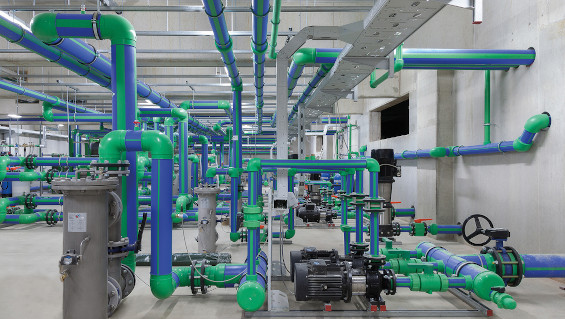 Fig. 1: Pipelines from a cooling water treatment system in an industrial plant. Source: aquatherm