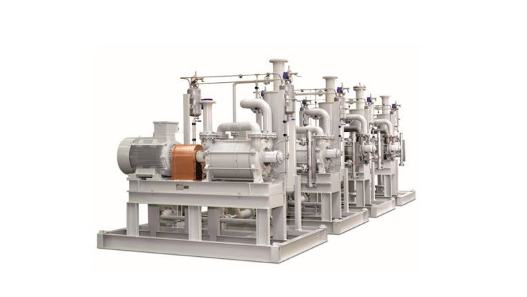Fig. 6: Vacuum system with five one-stage DOLPHIN liquid ring vacuum pumps for degassing process fluid.